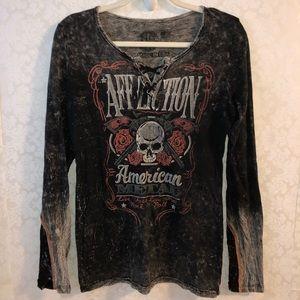 Affliction American metal M black gray sleeves top
